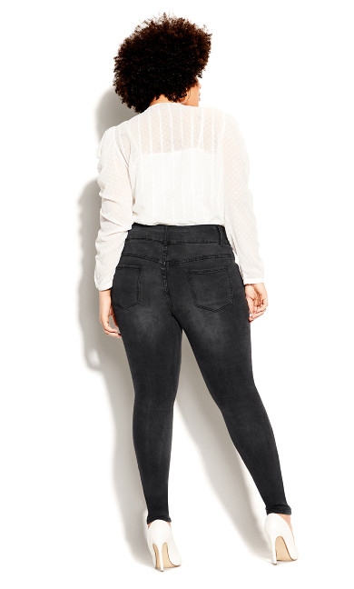 Asha Rocker Skinny Jean - black