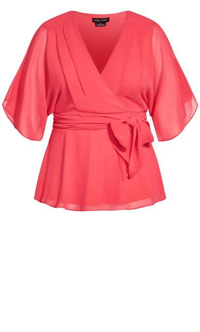 Elegant Wrap Top - hot pink