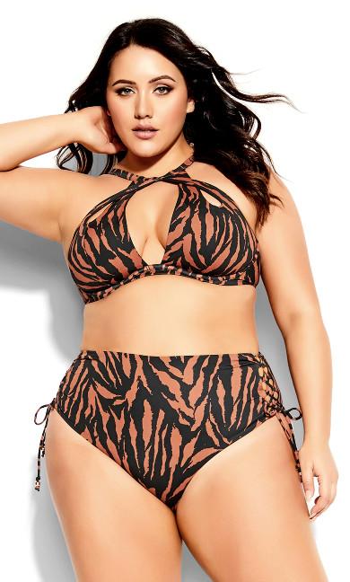 Plus Size Cancun Underwire Top - tiger print