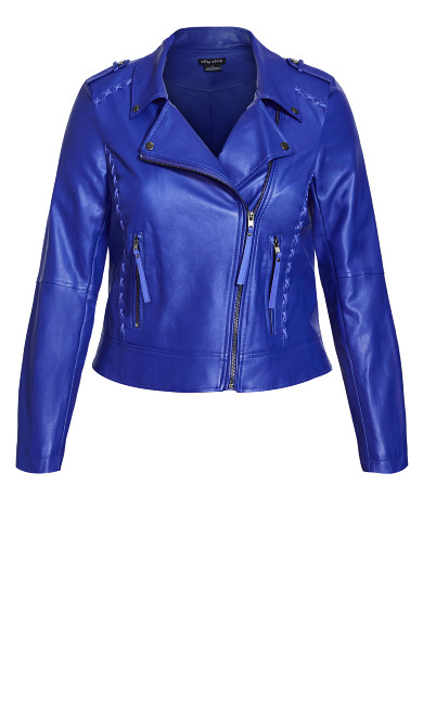 Cross Stitch Biker Jacket - lapis