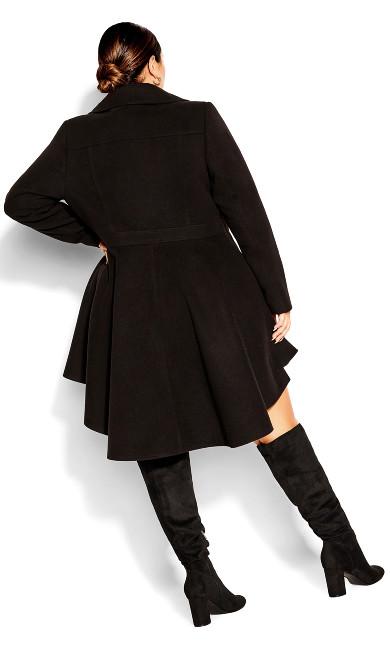 Hi Lo Frill Coat - black