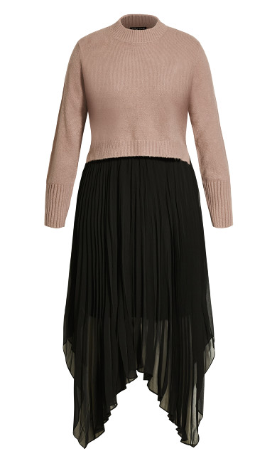 Pleated Crop Dress - amaretto