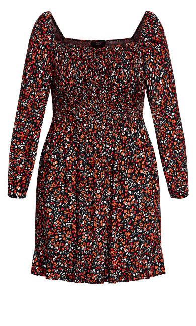90's Floral Dress - black