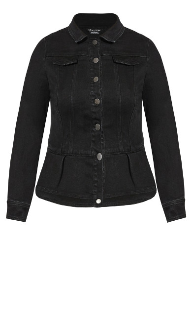 Denim Ruffle Jacket - black