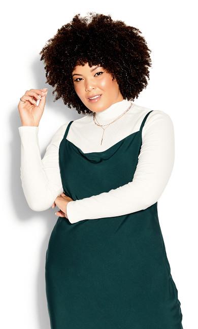 Plus Size Shimmer Slip Jade Cowl Drape Midi Fitted Silky