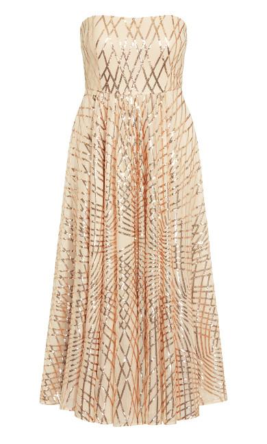 Eternal Shimmer Maxi Dress - rose gold