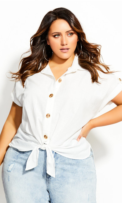 Plus Size Shirt Button Explorer - ivory