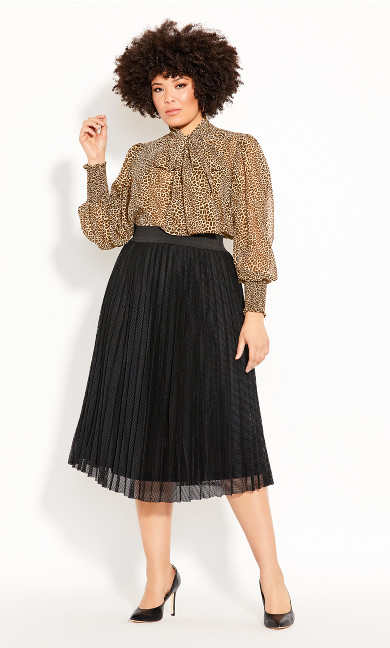 Plus Size Mesh Pleat Skirt - black