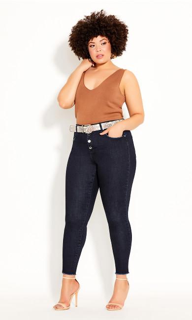 Plus Size Next Level Corset Jean - dark denim