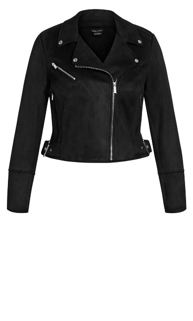 Faux Suede Love Jacket - black