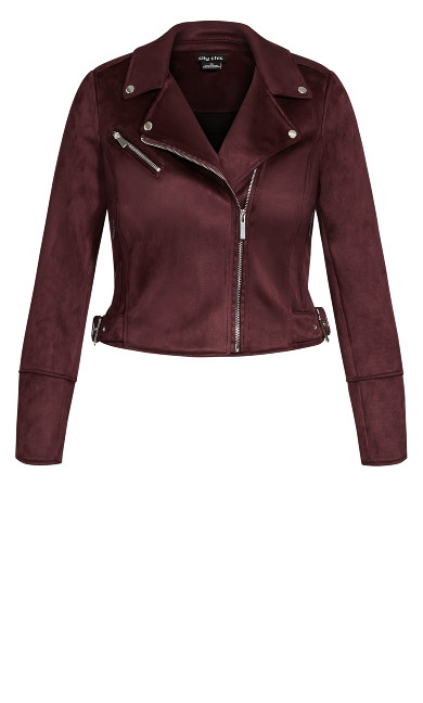 Faux Suede Love Jacket - bordeaux