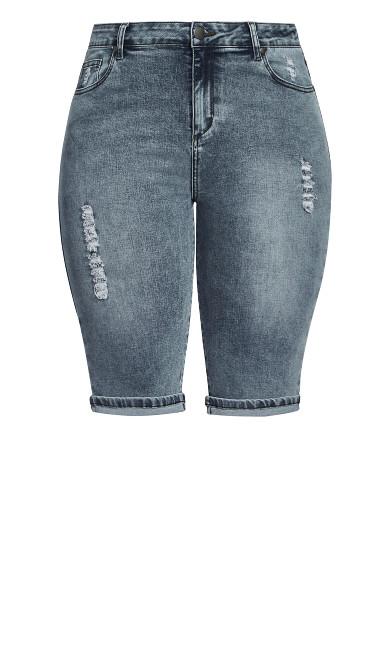 Knee Turn Up Short - grey