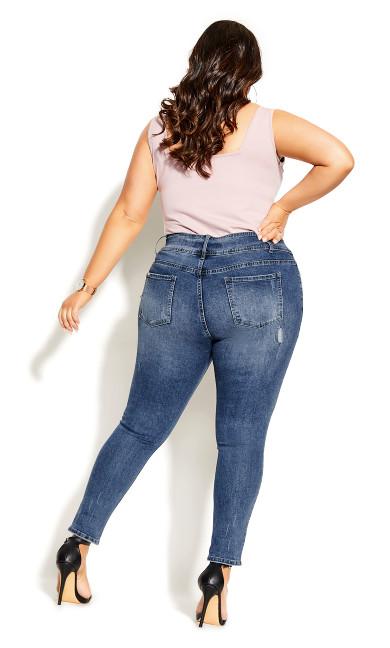 Asha Patched Apple Skinny Jean - indigo