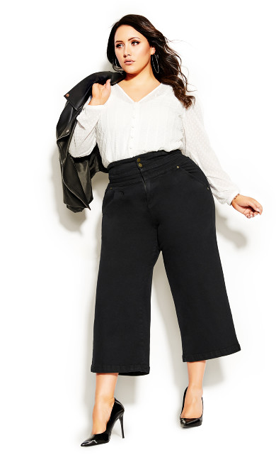 Plus Size Harley Denim Culotte Jean - black