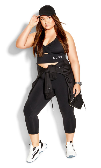 Plus Size Knock Out Crop - black