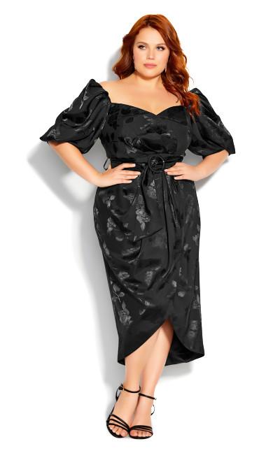 Plus Size Lady Jacquard Dress - black