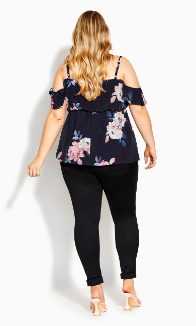 True Love Floral Top - navy