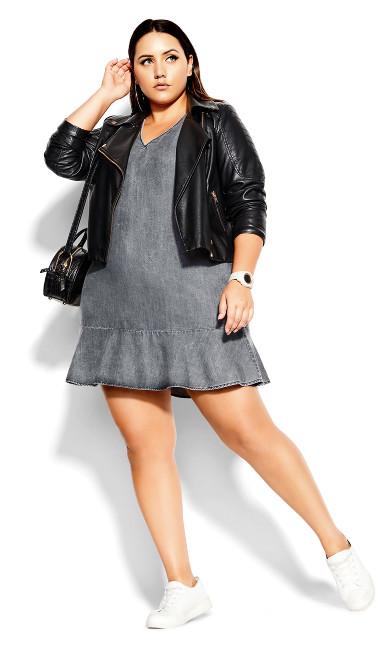Denim Frill Dress -black