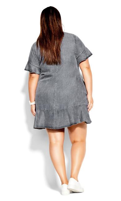Denim Frill Dress - black