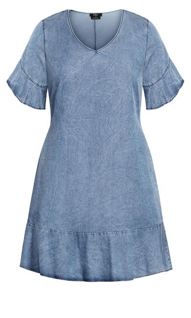 Denim Frill Dress - mid wash