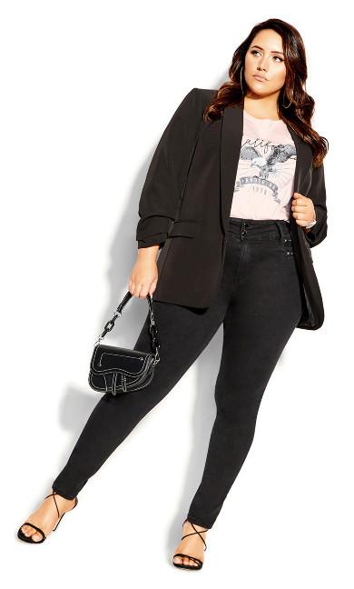 Plus Size Harley Rocker Zip Front Jean - black