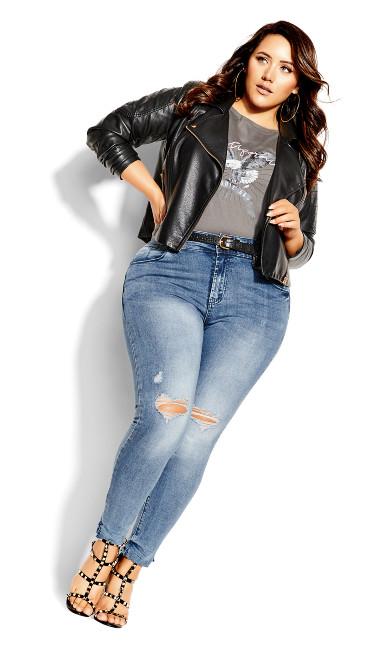 Plus Size Asha Grit Skinny Jean - mid denim