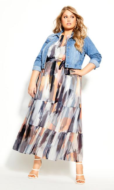 Plus Size Brushstroke Maxi Dress - ivory