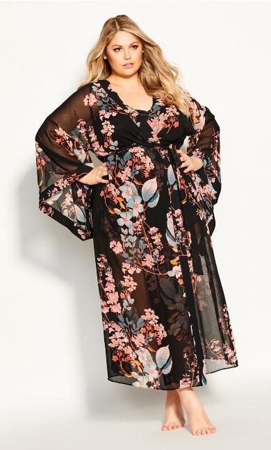 Plus Size Hannah Long Wrap - black