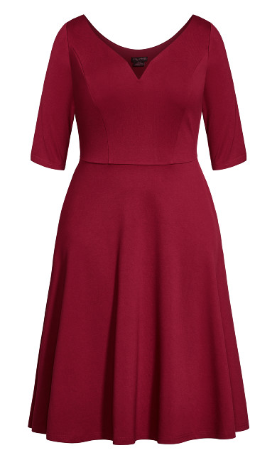 Cute Girl Elbow Sleeve Dress - sangria