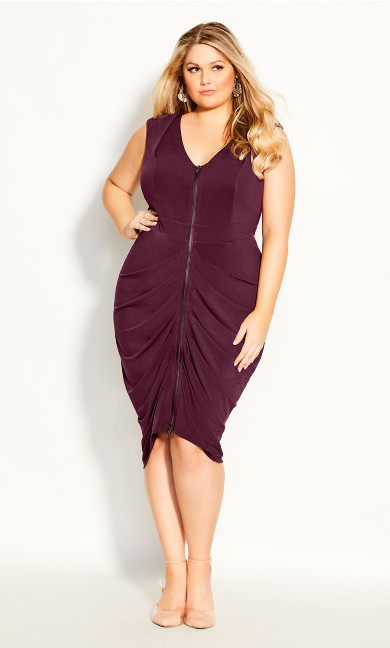 Plus Size Sexy Drape Dress - plum