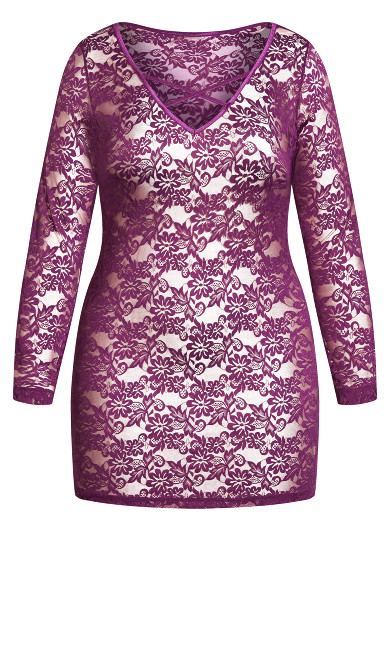 Sheer Lace Chemise - amethyst