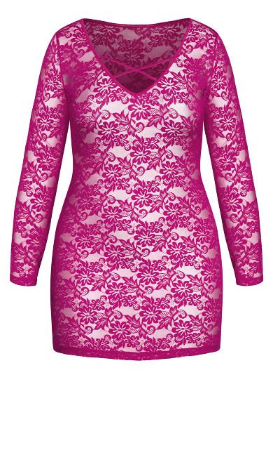 Sheer Lace Chemise - cerise