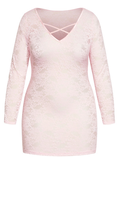 Sheer Lace Chemise - soft pink