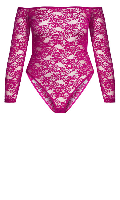 Sheer Lace Bodysuit - cerise