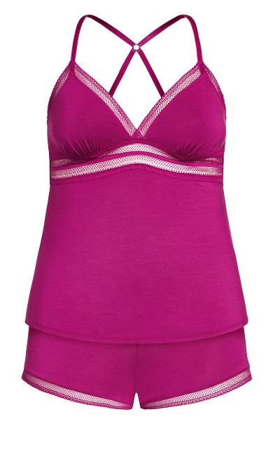 Tia Short PJ Set - cerise