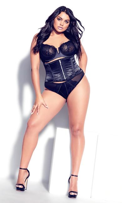 Vixen Zip Front Corset - black