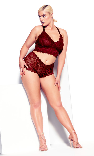 Kira Lace Boyshort - pomegranate