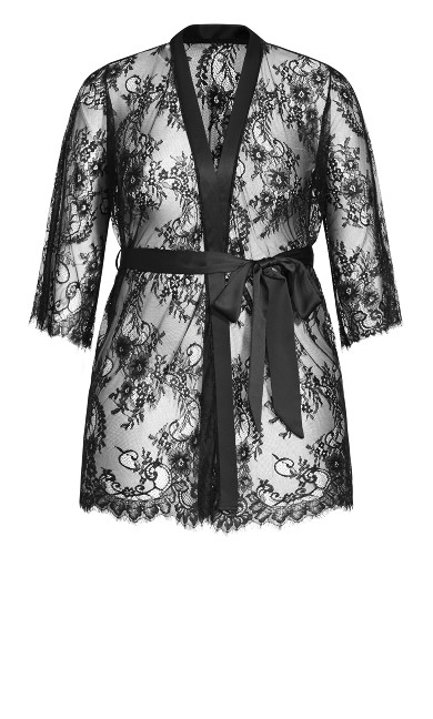 Eva Lace Robe - black