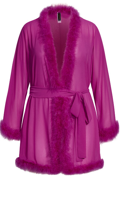 Marabou Trim Short Robe - wild aster