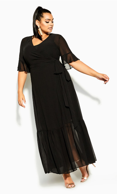 Plus Size Flutter Wrap Maxi Dress - black
