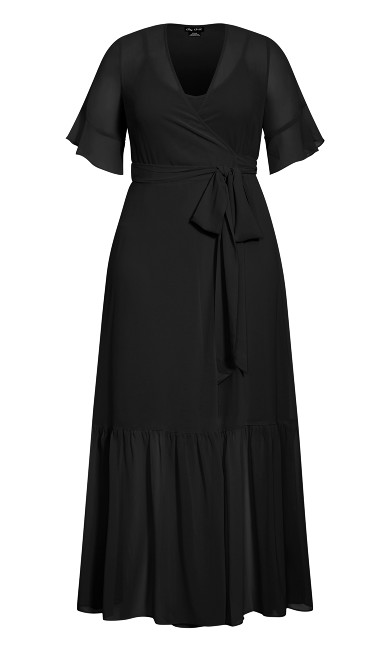 Flutter Wrap Maxi Dress - black