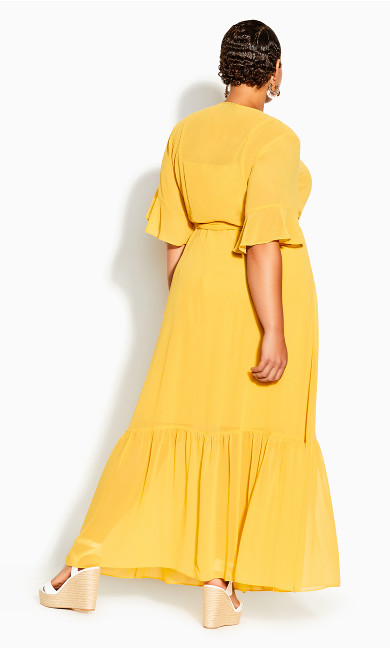 Flutter Wrap Maxi Dress - golden yellow