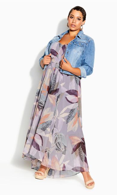 Plus Size Paradise Palm Maxi Dress - mauve