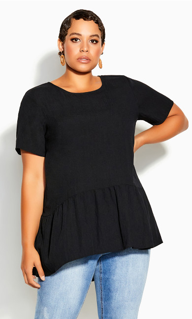 Plus Size Breezy Frill Top - black
