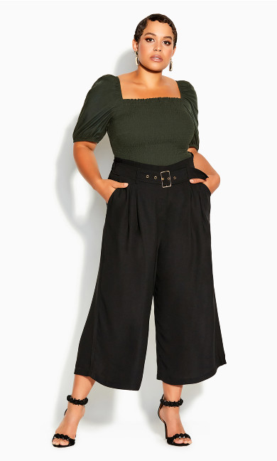 Plus Size Easy Crop Pant - black