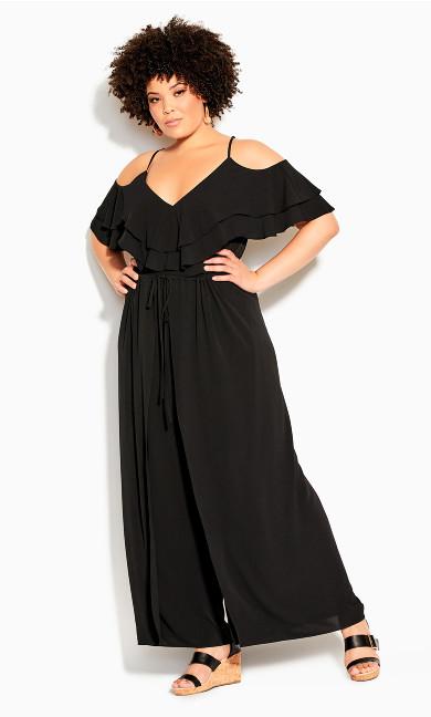 Plus Size Split Front Jumpsuit - black