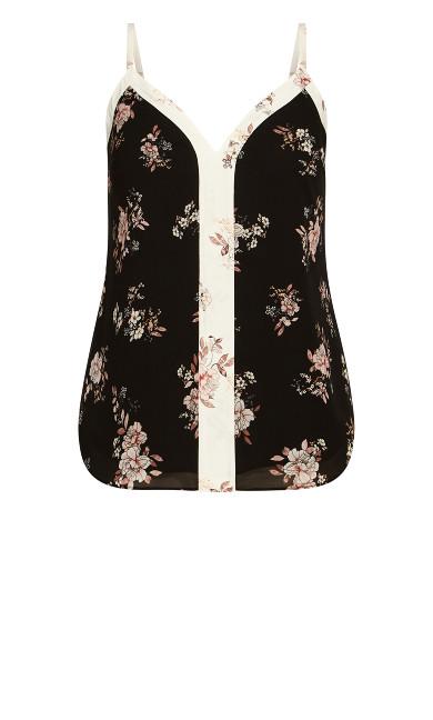 Spliced Floral Cami - black
