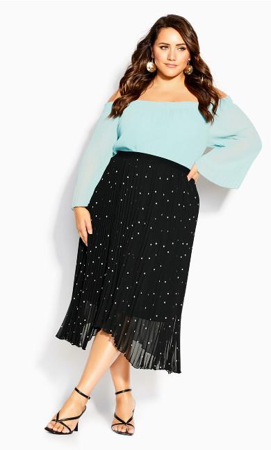 Pleated Spot Skirt - black