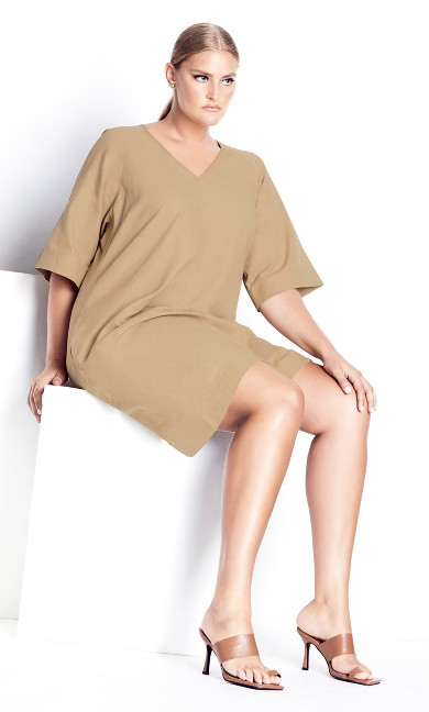 Simple Lines Dress - stone