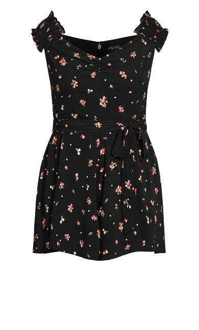 Petal Ditsy Playsuit - black